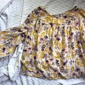 Long sleeved floral peasant top